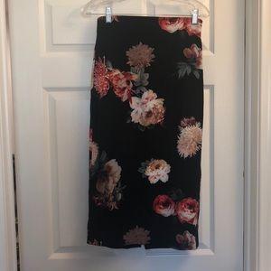 Zara black floral pencil skirt
